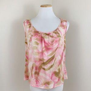 Escada Pink Silk Rose Print Gathered Tank Top